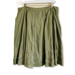 PLUS Michael Kors Olive Green Cotton Pleated Skirt